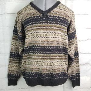 St John's Bay L Brown Beige Silk Blend Sweater